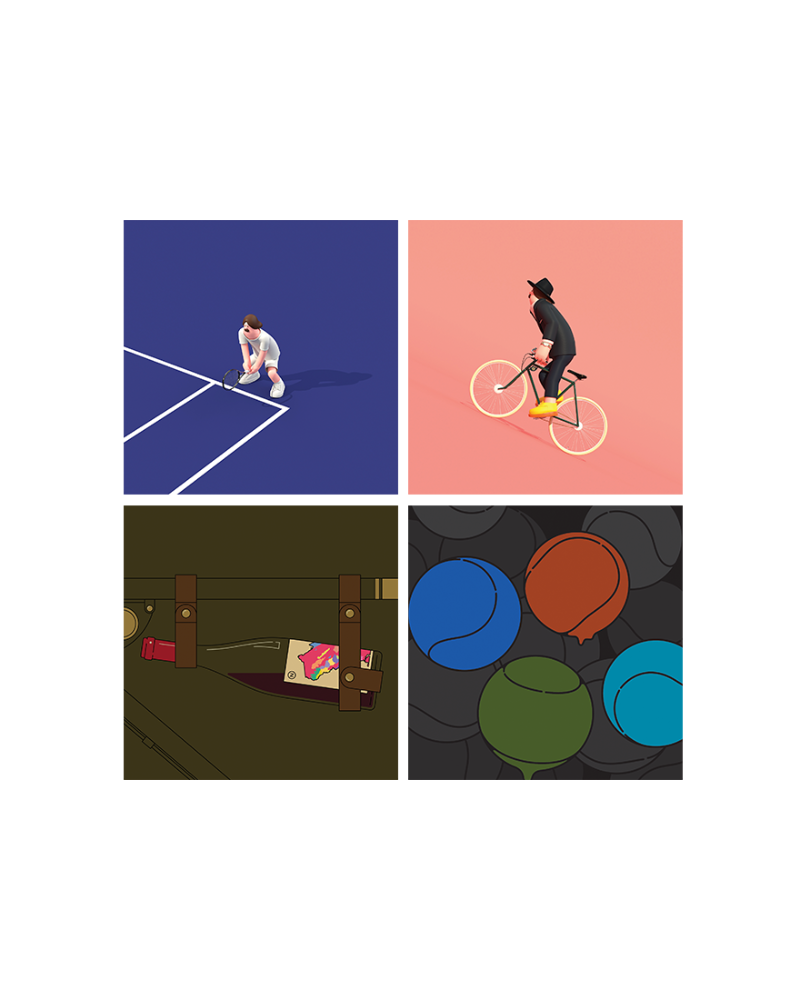 Tennis Player 1,2 & Bicyclist 1,2